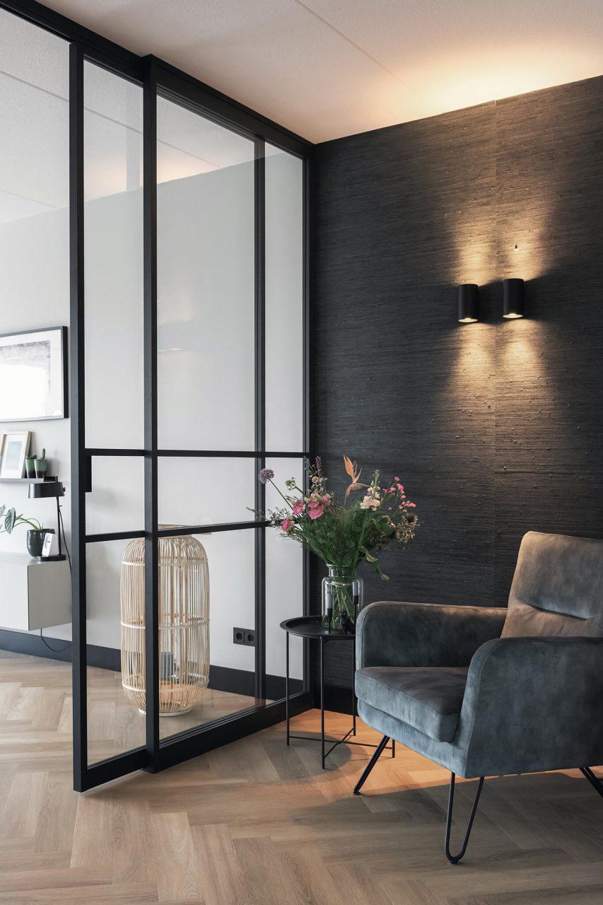 Roomdivider met dubbele schuifdeur en panelen GewoonGers
